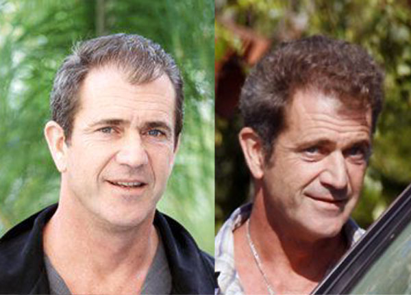 mel gibson hair before after